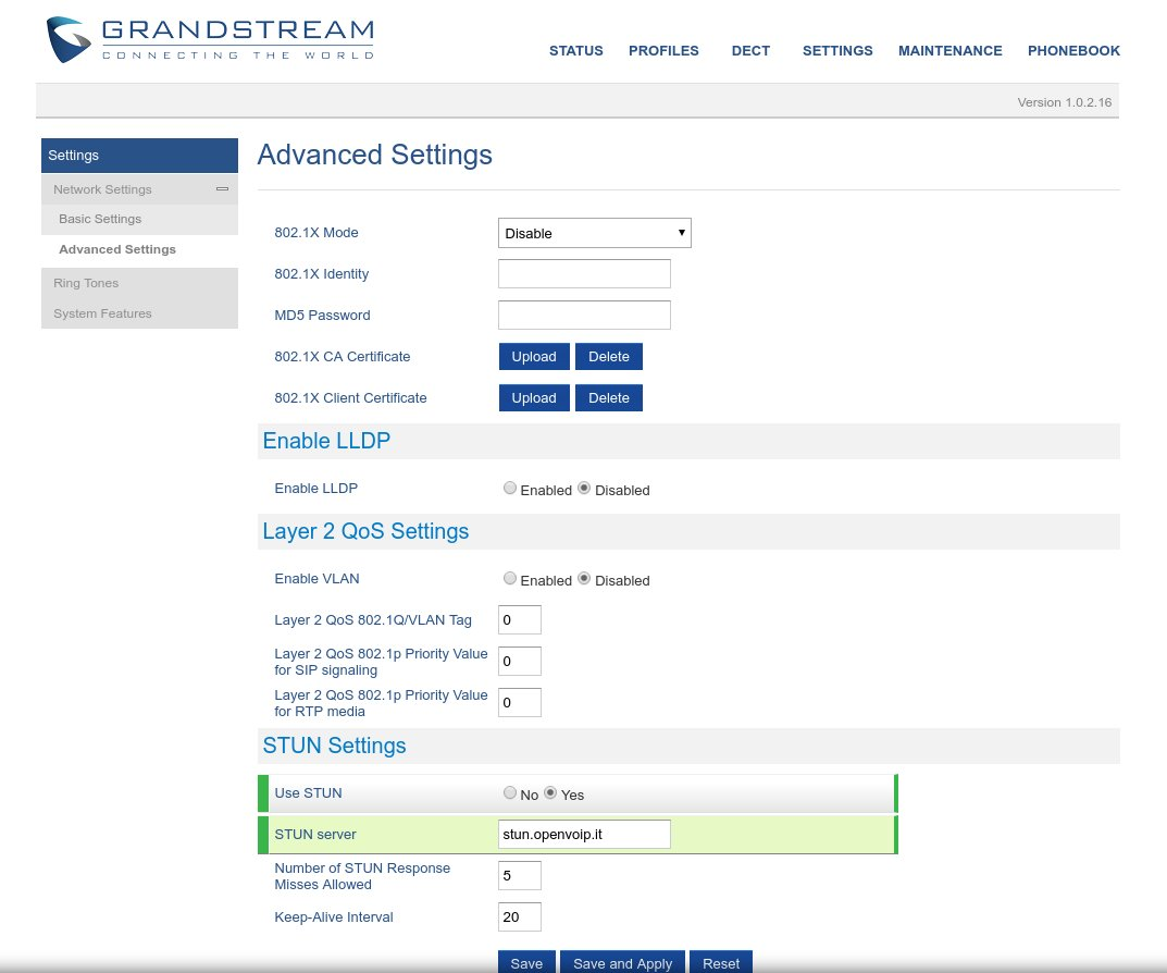 Advanced Settings su Grandstream Dp-720 Dp-750 con centralino OpenVOIP