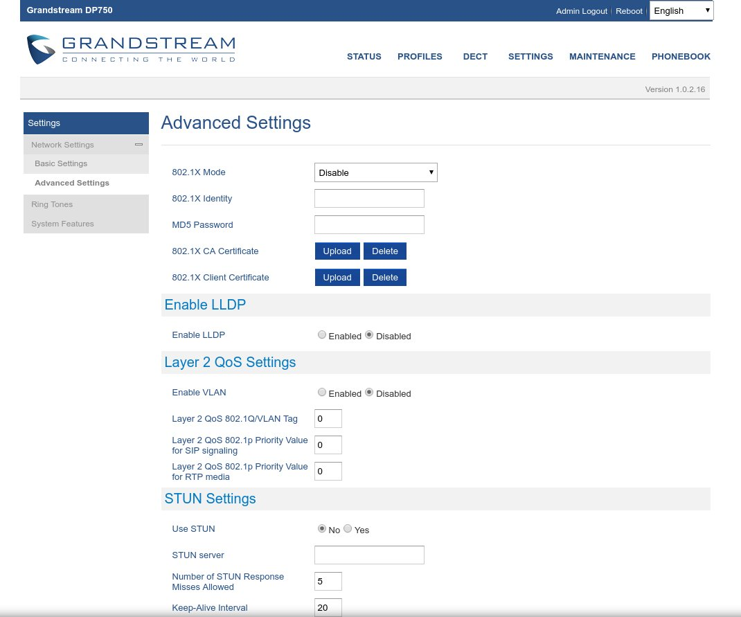 Advanced Settings su Grandstream Dp-720 Dp-750 con contratto Naked OpenVOIP