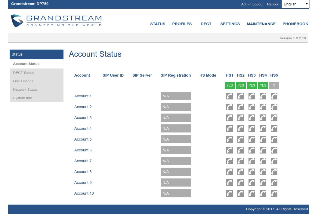 Account status Grandstream Dp-720 Dp-750