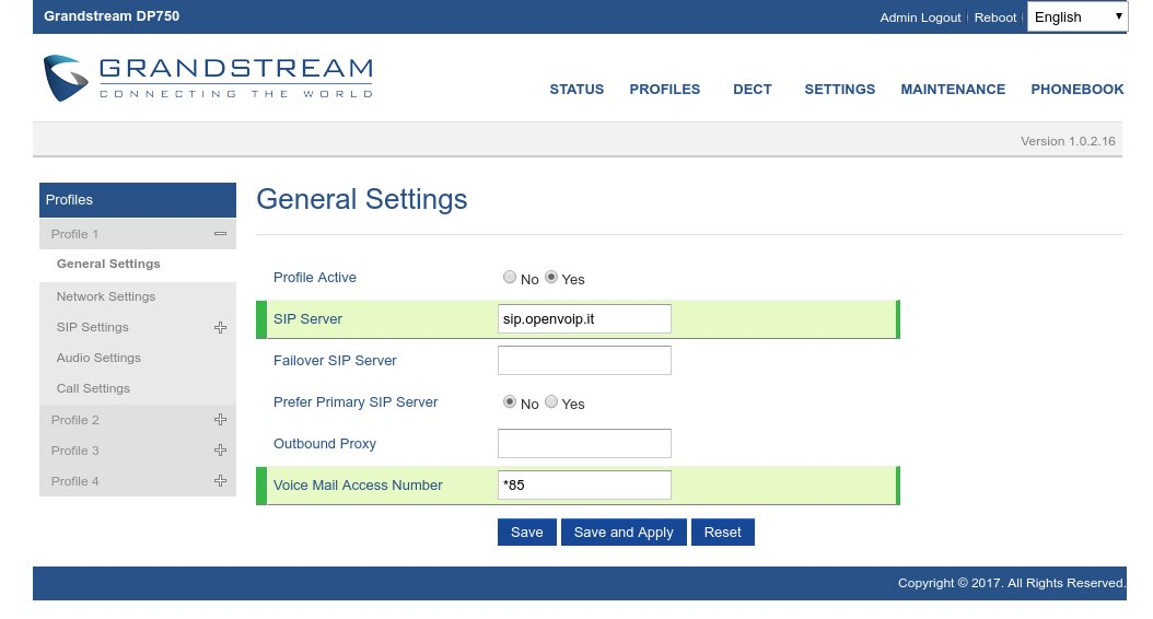 General settings Grandstream Dp-720 Dp-750