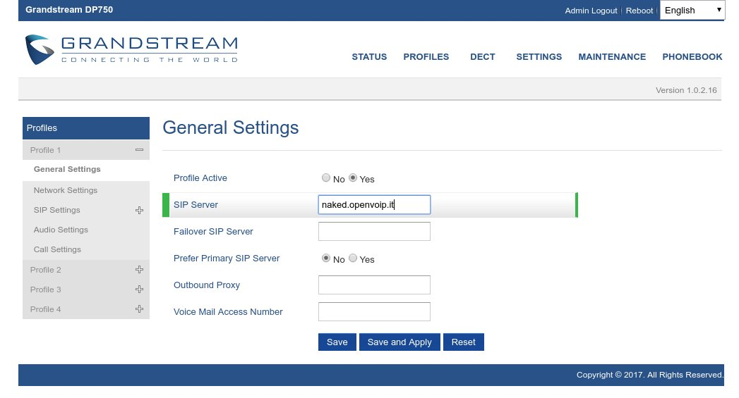 Configurazione General Settings del Grandstream DP750 con contratto Naked di openVOIP